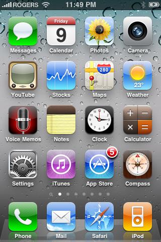 Главный экран iOS 4