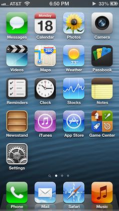 Главный экран iOS 6