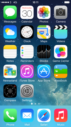 Главный экран iOS 7