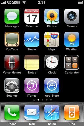 Главный экран iPhone OS 3