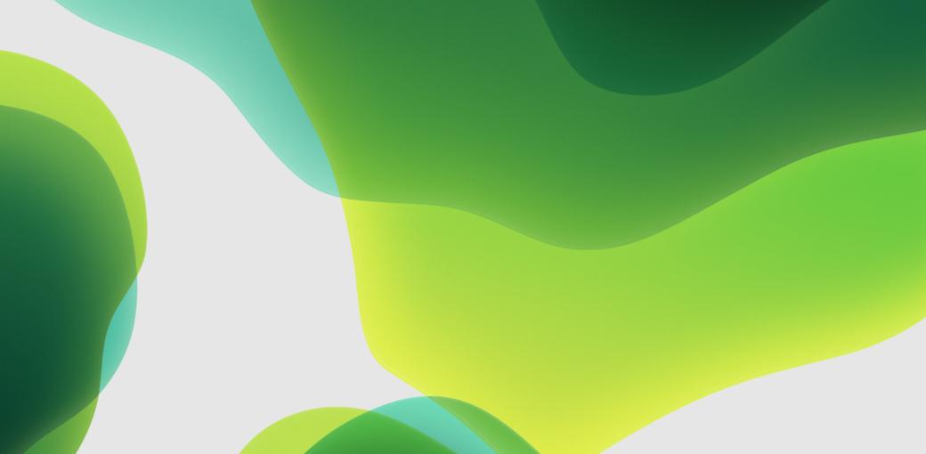 Обои iOS 13, зелёные, светлые