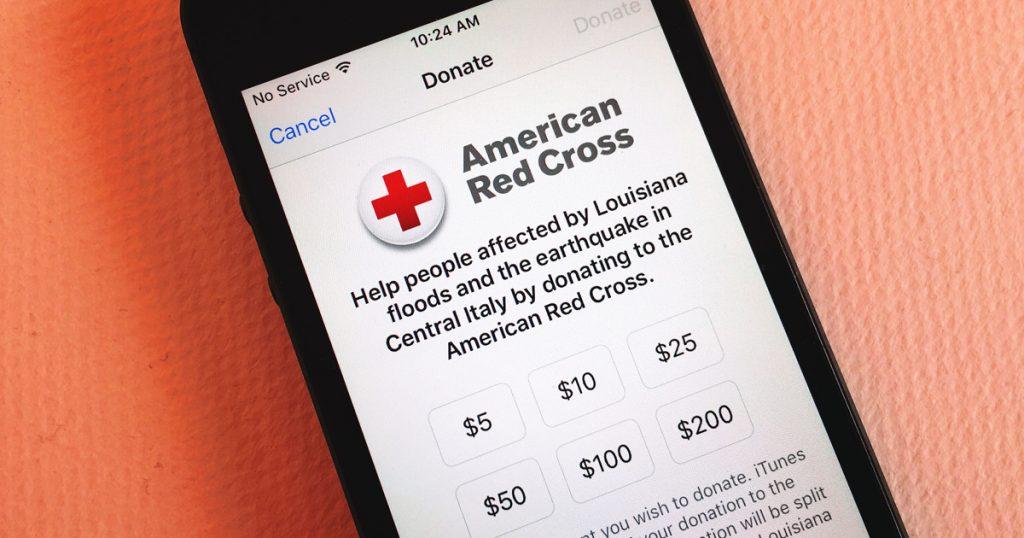 Пожертвование Красному Кресту на iPhone