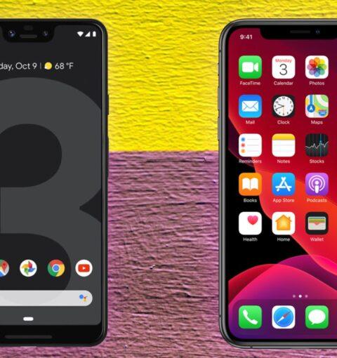 Смартфон с Android 10 и iPhone с iOS 13