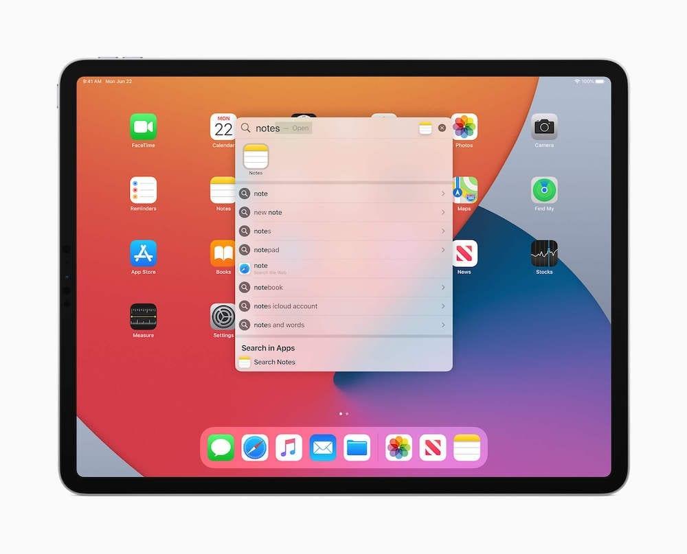 Поиск Spotlight в iPadOS 14