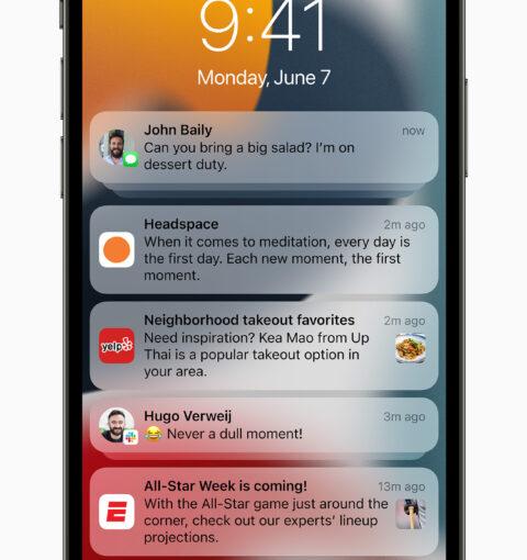 Центр уведомлений в iOS 15